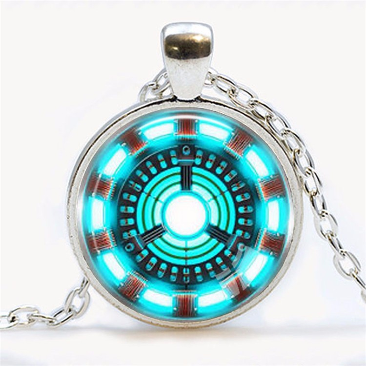 Awesome Iron Man Arc Reactor Necklace light Blue