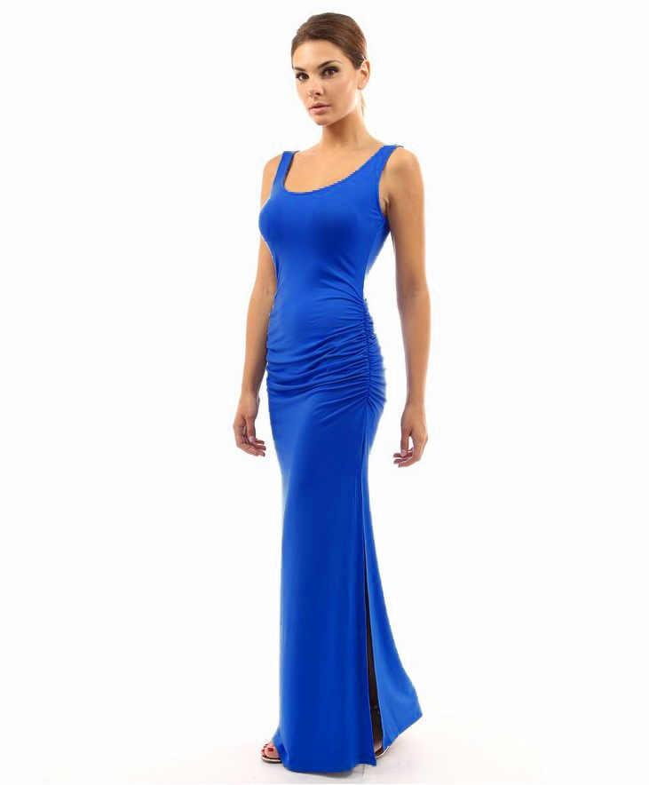 Высококачественное эластичное платье приталенное летнее 2019 элегантное женское сексуальное платье с круглым вырезом без рукавов тонкое Макси платье с разрезом по низу длинное платье Vestidos