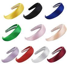 Minimalist Glossy Satin Wide Headband Women Bright Solid Color Thicken Sponge Padded Hair Hoop Party Styling Accessories