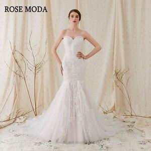 Image 1 - Rosa Moda Scintillante Del Merletto Sirena Abito Da Sposa Rosa Abiti Da Sposa con Pizzo Reale Foto