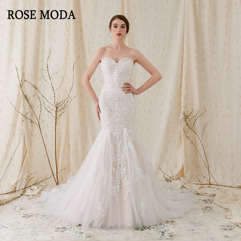 Rose Moda Sparkling Lace Mermaid Wedding Dress 2019 Pink Dresses with Real Photos