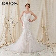 Rose Moda musujące koronkowe suknie ślubne syrenka różowe suknie ślubne z koronkowymi prawdziwymi zdjęciami