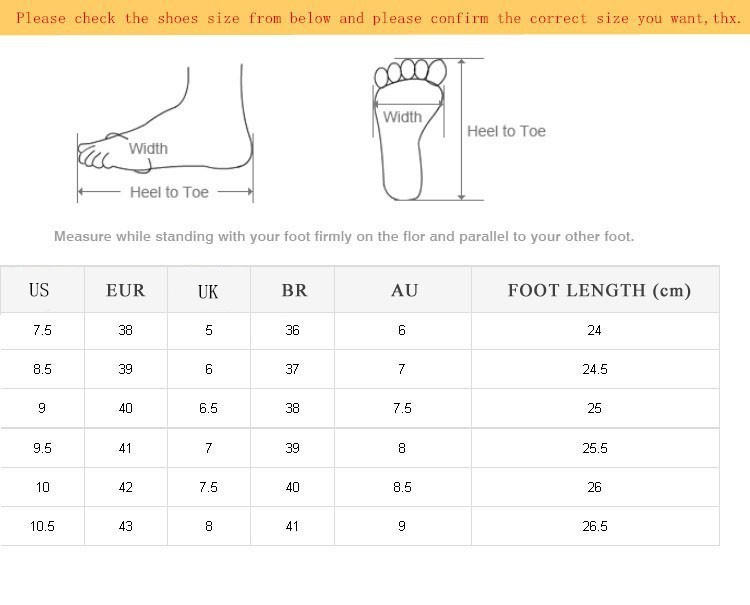 size shoes