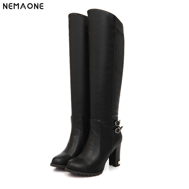 цены NEMAONE winter new lambs wool inside Knight boots women high-heeled knee boots, knee high boots zipper