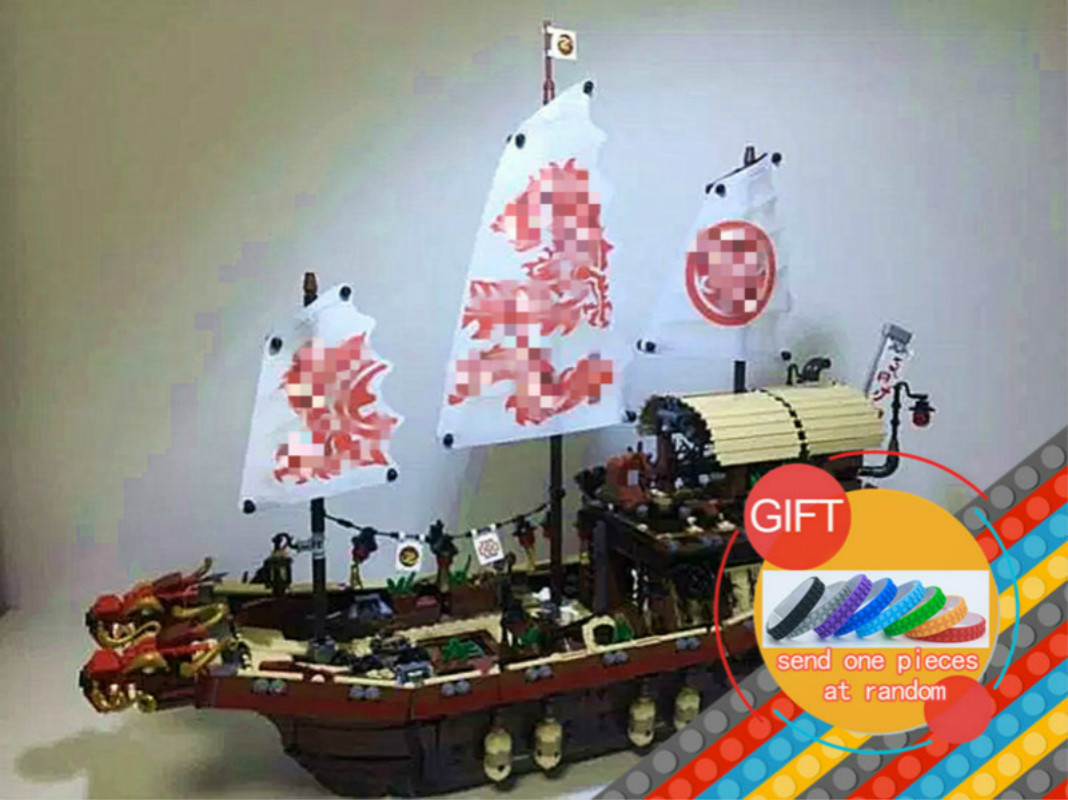 06057 2455pcs Ninja Movie Series Pirate Dragon Ship Final Fight of Destiny Bounty Set Building Blocks Compatible 70618 toy lepin building block set compatible with lego bang bao fairy series kung fu fight inserted blocks toy mysterious dragon hegemony 6606