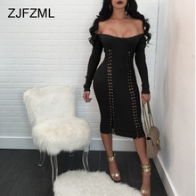 ZJFZML Women Sweater Dress Sexy Off Shoulder Midi Bandage Winter Kintted Full Sleeve Lace Up Slim Causal Club Vestidos