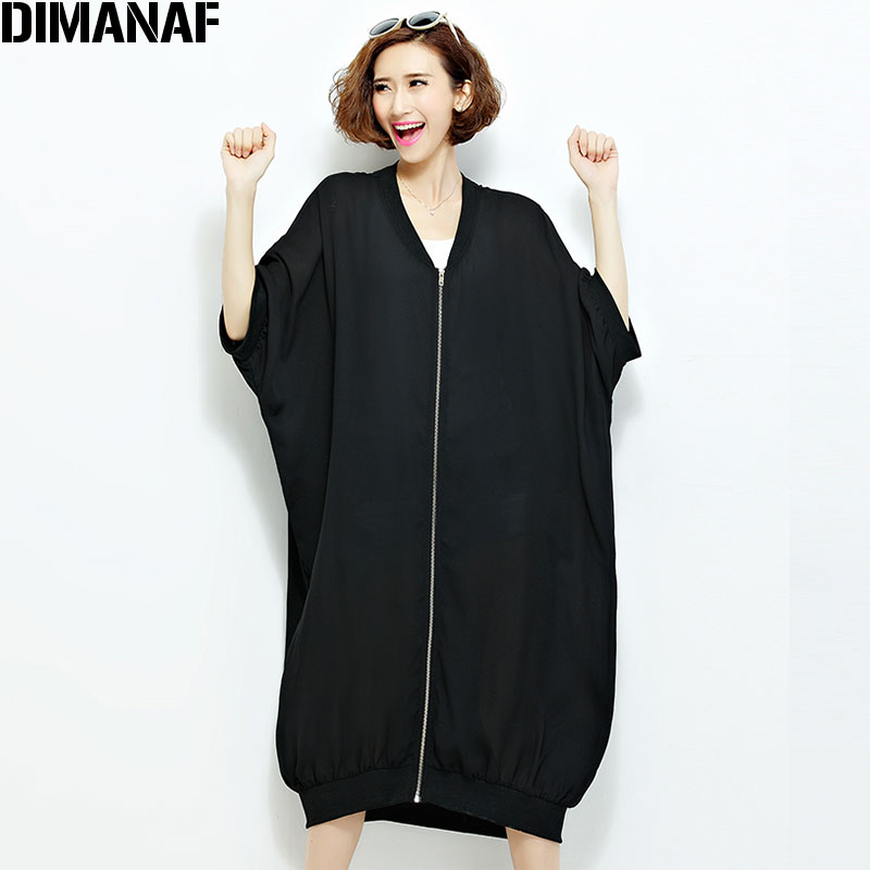 Poletni šifonski plašči ženska dolg kardigan Plus velikost trdna - Ženska oblačila