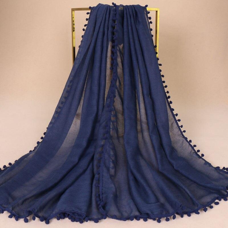 2018 Women Fashion Plain Bubble Tassel Viscose Scarf Ladies Pom Pom Shawls and Wraps Pashmina Stole Muslim Hijab Sjaal 180*80Cm Women