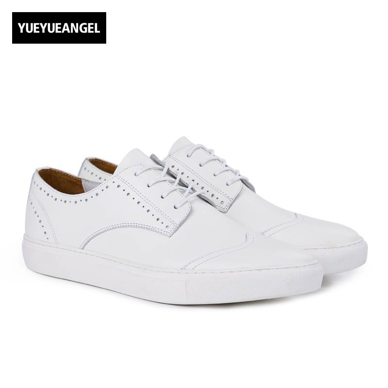 Fashion Mens Breathable White Genuine Leather Shoes Classic Brogue Wing Tip Casual Shoes Comfort Lace Up Round Toe Man Footwear 2017 new women shoes genuine leather casual shoes flats breathable lace up soft fashion brand shoes comfortable round toe white