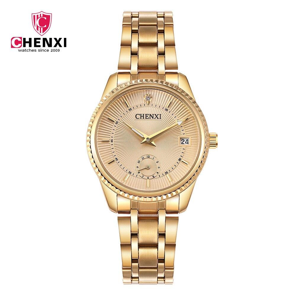CHENXI 2018 Luxury Golden Lady Watch Top Brand Minimalism Calendar Waterproof Quartz Women's Watch Business Dress Clock 069IPG