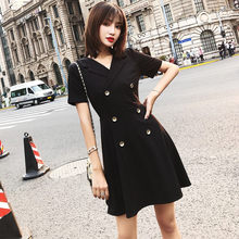 2019 Summer New Retro High Waist French temperament Little Black Dress Cold wind Blazer Suit Dress for Women X899(China)