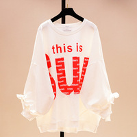 2019 Sale Korean Tumblr Women Tshirt Cotton Casual Knitted Full Sleeve Long Cloth Letter Printed O neck Batwing Loose New Style