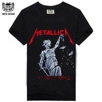 [Для мужчин кость] Новое поступление heavy metal rock band рок-группа Metallica с принтом футболка с короткими рукавами и круглым вырезом хип-хоп Повседне...