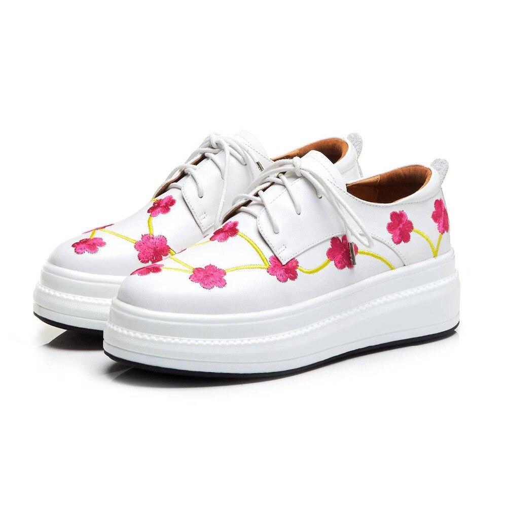 Broderie Cuir Naturel Bout Lacets Fleurs Vulcanisées Noir En Printemps Fond Rond L18 Baskets Chaussures blanc Épais Mocassins Femmes Lenkisen À Pq57w4