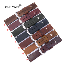 CARLYWET 22 24mm Top Real Leather Replacement Watch Band Strap Belt with Screw Buckle For Panerai Tudor IWC Fossil Tag Heuer