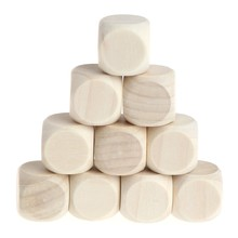 10Pcs/Set 6 Sided Blank Wood Dice Party Family DIY Games Printing Engraving Kid Toys(China)