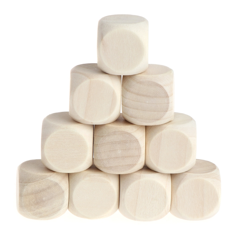 10Pcs/Set 6 Sided Blank Wood Dice Party Family DIY Games Printing Engraving Kid Toys