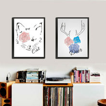 Cute Rose Cat Deer Head Canvas Printing Poster Watercolor Letters Wall Picture Kids Room Painting Home Decor For Living