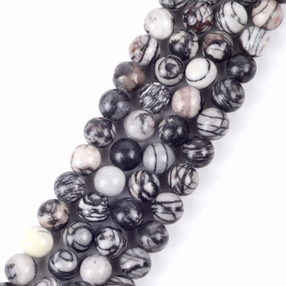 "Wholesale 4 6 8 10 12mm Round Black Web Jaspers Stone Ball Beads Diy Braceket 15"" Natural Mineral Stone Beads ForJewelry Making"