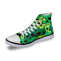 Noisydesigns High top canvas women sneakers vintage vulcanized lace up flat shoes ladies green black funny skulls 3D print girls