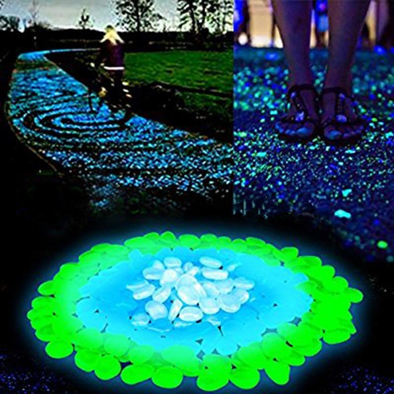20/50/100pcs Glow In The Dark Garden Pebbles Glow Stones Rocks For Walkways Aquarium Decor Plants Garden Yard Luminous Stones