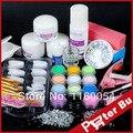 2015 Nuevo Polvo de Acrílico Líquido con Brillo Cepillo Rhinestone de uñas de gel blanco francés consejos Etiqueta Archivo Buffer Clipper Kit Gel UV 101