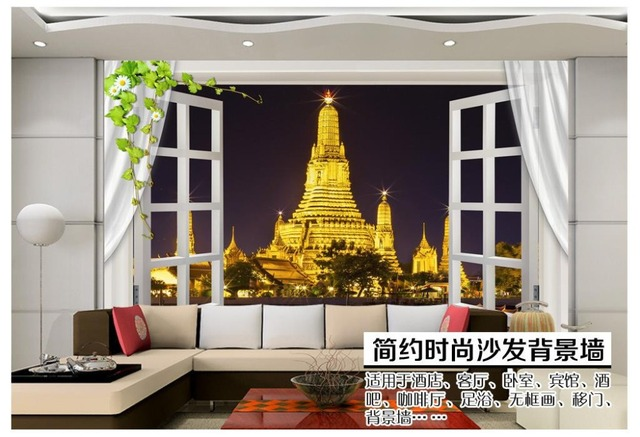 Custom 3d Photo Wallpaper 3d Wall Murals Wallpaper 3d Windows Windows  Bangkok River Landscape TV Backdrop Part 75