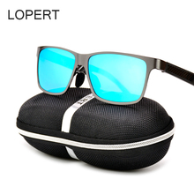 LOPERT Aluminum Magnesium Polarized Sunglasses Men Brand Designer Driving Glasses Square Sun Glasses For Men UV400