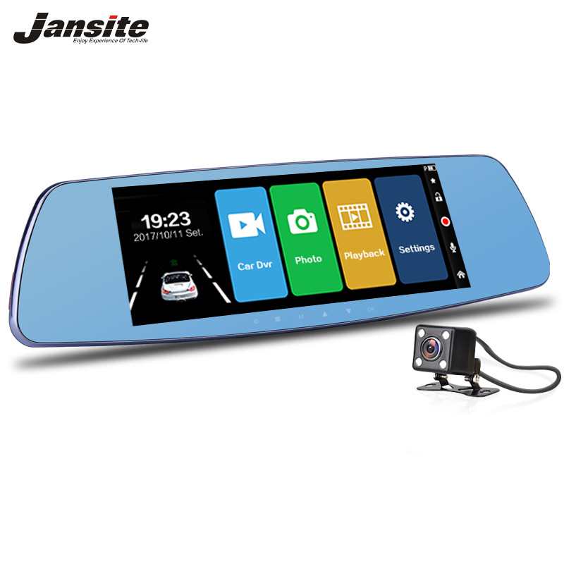 Jansite 7 Inch HD Touch Screen Car DVR Dual Lens Camera Rearview Mirror Video Recorders Dash Cam Auto Camera Portable Recorder