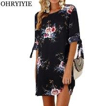 OHRYIYIE плюс Размеры 5XL Винтаж летнее платье Для женщин с цветочным принтом летнее пляжное платье женская половина Seleeve шифоновое платье, сарафан