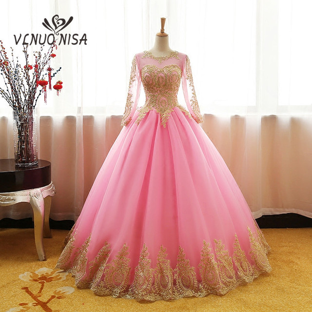 100% Real Photo Pink Red Evening Dresses With Lace Luxury Gold ...