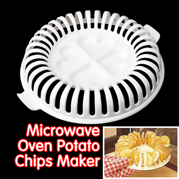 Diy Low Calories Potato Chips Baking Tray Microwave Oven Fat Free Maker Home Tool