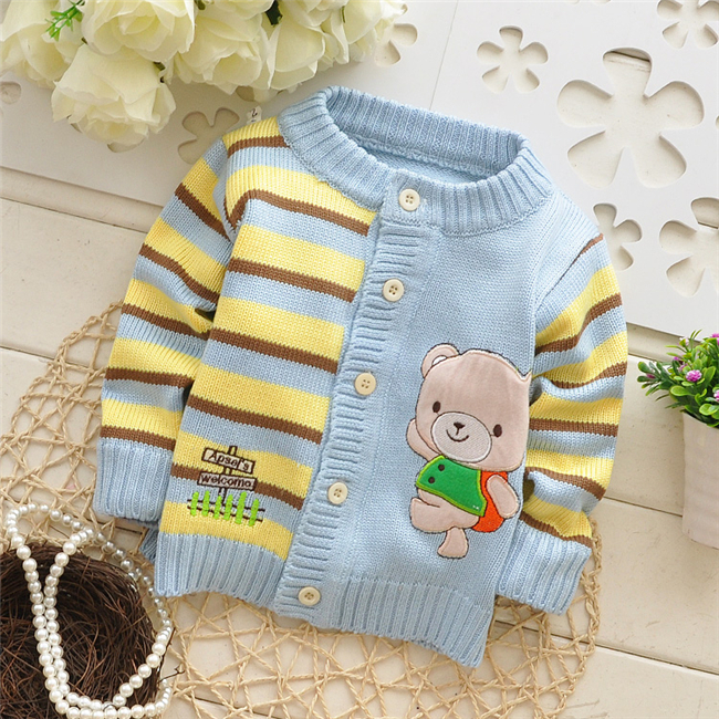 2016 Autumn/Winter new style Baby Cartoon knit cardigans sweaters,infant fashion bear sweatercoat,V978 B