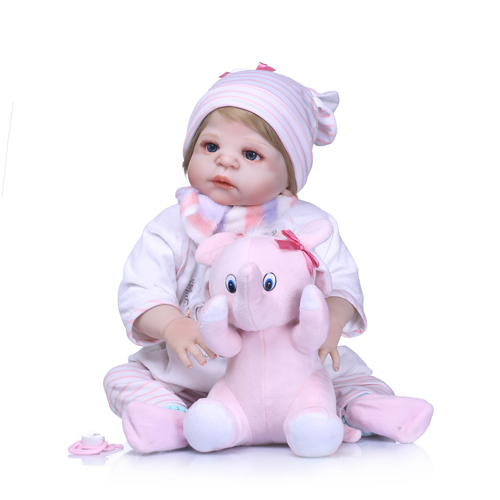 Real Silicone reborn baby girl dolls 2357cm NPK bebes reborn menina children gift toy dolls with pink elephant plushReal Silicone reborn baby girl dolls 2357cm NPK bebes reborn menina children gift toy dolls with pink elephant plush