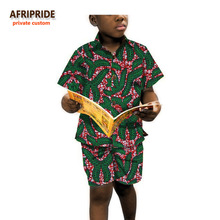 2017boys short sleeve shirt and pants african clothes for kids children clothing print cotton wax plus size A723601