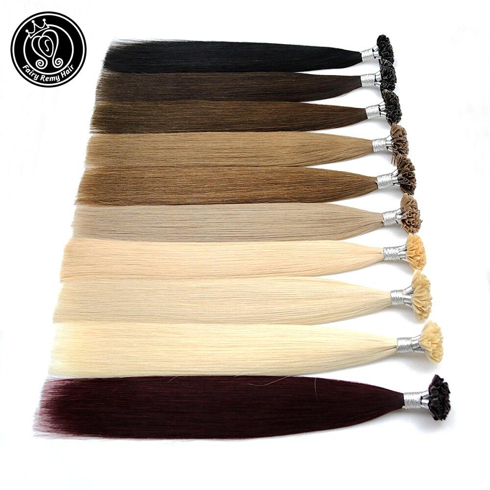"Fusion Keratin Bond Human Hair Extensions Capsule U Nail Tip Real Remy Pre Bonded Hair Platinum Blonde 16"" 18"" 20"" 0.8g/strand(China)"