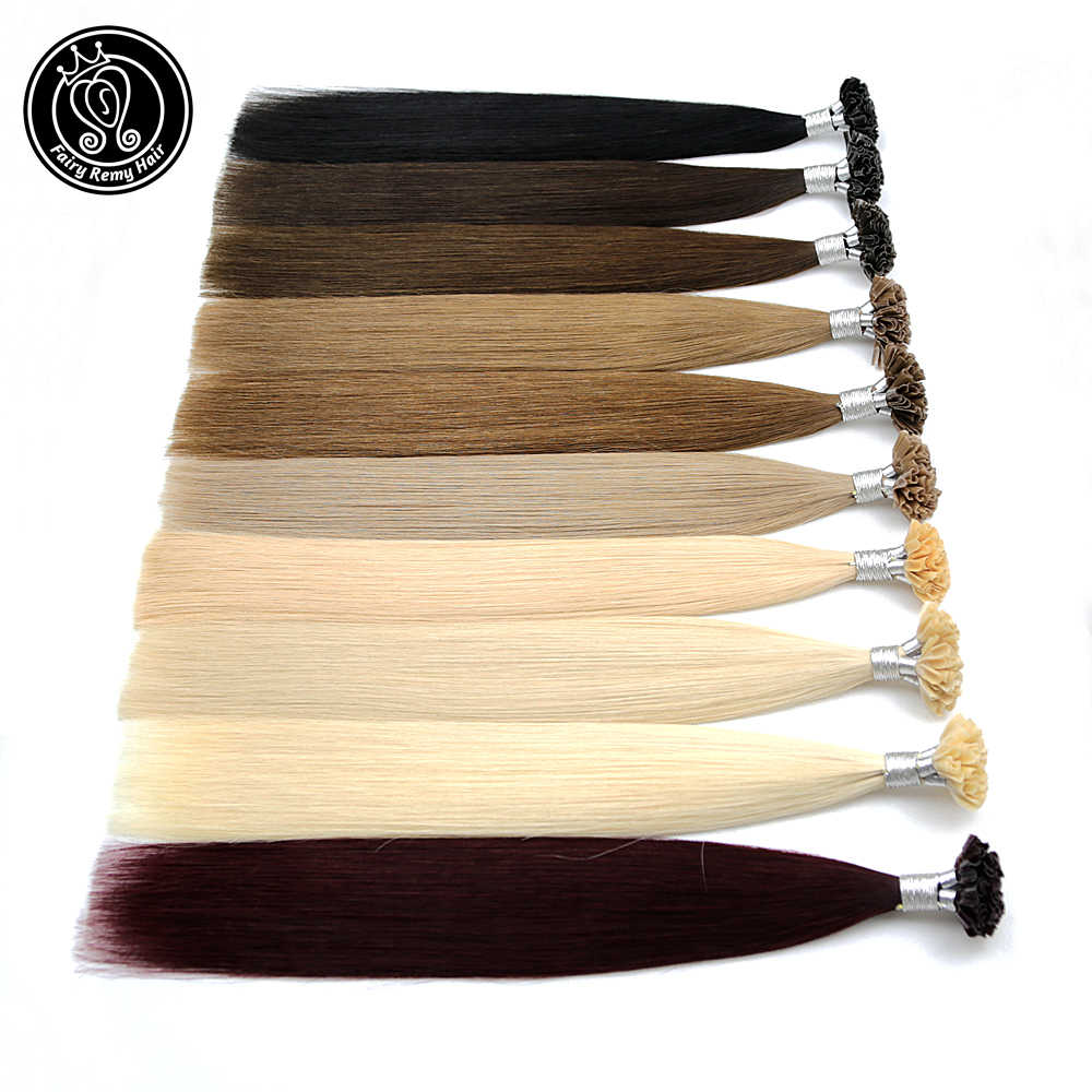 "Fusion Keratin Bond Human Hair Extensions Capsule U Nail Tip Real Remy Pre Bonded Hair Platinum Blonde 16"" 18"" 20"" 0.8g/strand"