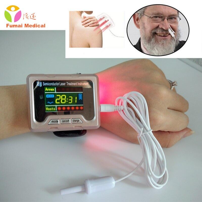 CE ТВ 650nm лазерный лечебный наручный диод LLLT для диабета лечение гипертонии часы синусит терапевтический аппарат Новый