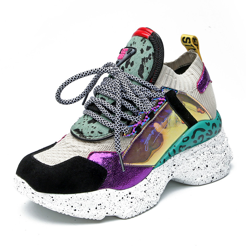 2019 Nouvelles Baskets Femmes 35-42 Plate-Forme Blanc Sneakers Crin Chaussures décontracté Appartements Respirant Doux Femme Chunky Chaussures