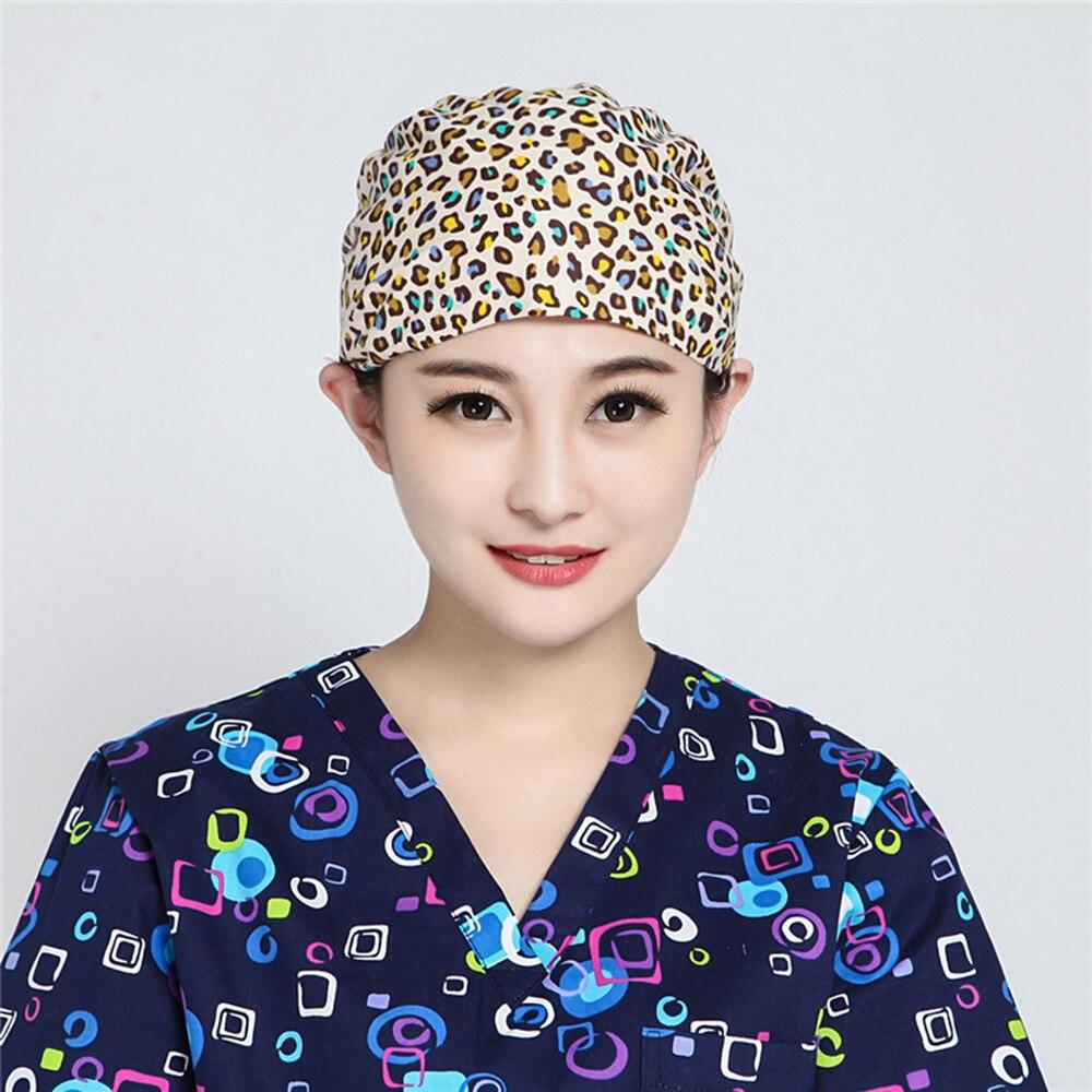 Cotton Flower Printing Doctor Work Cap Dustproof  Unisex Headscarf Beautician Hat Cartoon Adjustable Dome Operating Room Pink