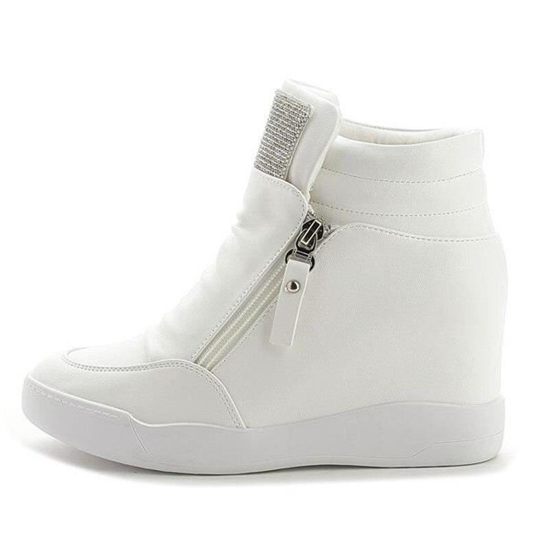 Compensé Chaussures Strass Femmes Noir Mode Noir Caché Talon Gratuite 2017 Pour Casual Talons blanc Blanc Ascenseur Livraison Wedge De 0wz61xZqO1