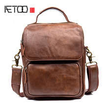 AETOO Men 's casual men' s leather Messenger bag first layer of leather shoulder bag Messenger bag IPAD package
