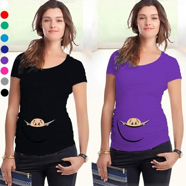 New Women Maternity t shirt for Pregnant Women Loose Clothing Maternity Fashion Printed Cotton Mother Clothes Bottoming shirt Q2