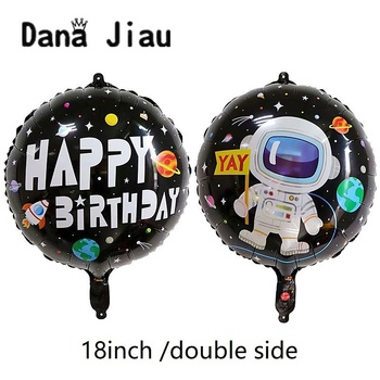 DanaJiau NEW boy HAPPY BIRTHDAY party decoration outer space astronaut foil balloon YAY Planet explore partner holiday toy image