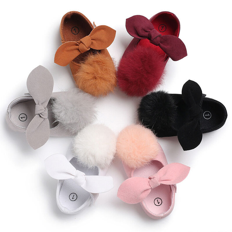 New Fashion Newborn Baby Girls Kids Soft Sole Crib Shoes Cute Bow-knot Hairball Shoes Casual Baby First Walkers