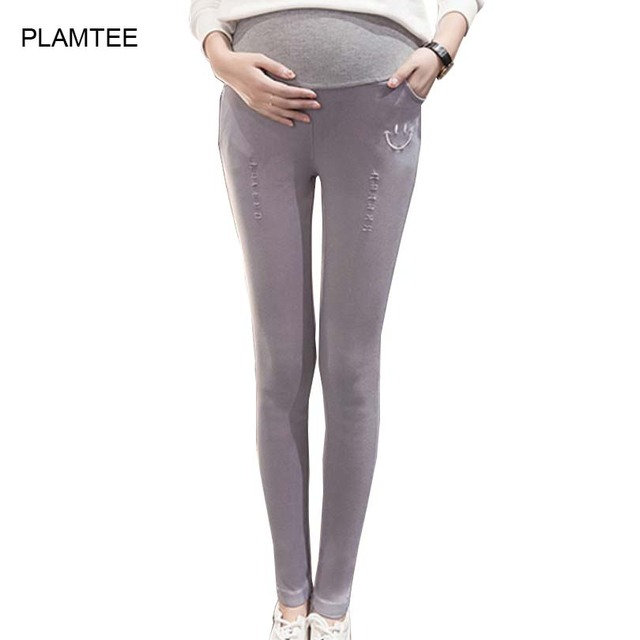 Maternity Fashion Hole Pants Autumn Trousers Gravida with Smile Print Maternity Clothes Pants for Pregnant Women Pencil Pants