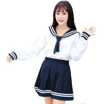 c03f7265c Uniformes japoneses traje de marinero marino para mujeres Kansai  estudiantes traje de manga larga uniforme escolar para niñas