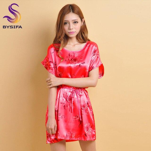 [BYSIFA] Ladies Gris Rosa Accesorios de Moda Camisa de Dormir de Las Mujeres Patrón de Rosas de Satén Suelta Ocio Camisón Sleepshirts