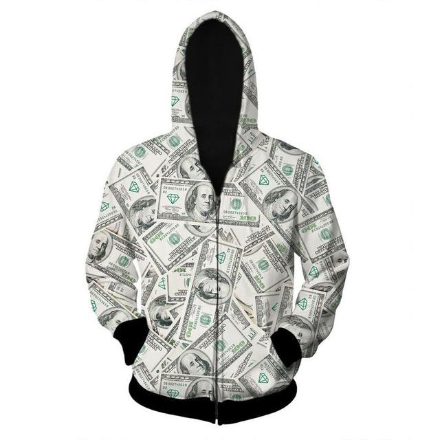 Alisister novos homens da moda/jaquetas engraçadas impresso do dólar do Dinheiro das mulheres casacos jaqueta homens jaqueta Casual zipper casaco harajuku topos