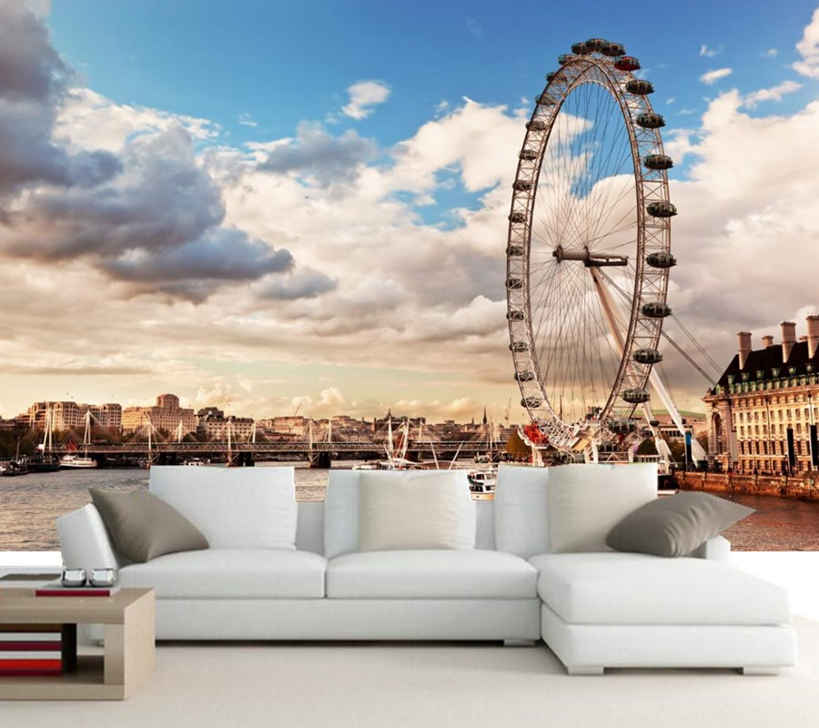 Custom London Ferris wheel Clouds Thames River Cities papel de parede,living room TV siofa wall bedroom photo mural wallpaper